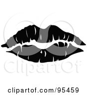 Royalty Free RF Clipart Illustration Of A Seductive Black Lipstick Kiss Mark by Andy Nortnik