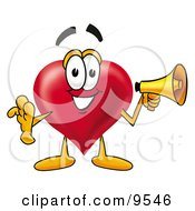 Clipart Picture Of A Love Heart Mascot Cartoon Character Holding A Megaphone