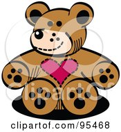 Brown Valentine Teddy Bear With A Heart Chest