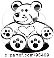 Royalty Free RF Clipart Illustration Of A Black And White Valentine Teddy Bear With A Heart Chest by Andy Nortnik