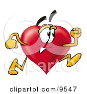 Clipart Picture Of A Love Heart Mascot Cartoon Character Running by Toons4Biz