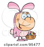 Royalty Free RF Clipart Illustration Of A Man In An Easter Bunny Costume Carrying A Basket