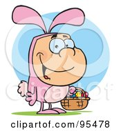 Royalty Free RF Clipart Illustration Of A Man In A Pink Easter Bunny Costume Carrying A Basket