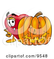 Love Heart Mascot Cartoon Character With A Carved Halloween Pumpkin