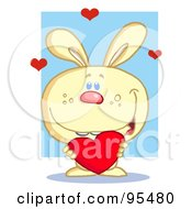 Royalty Free RF Clipart Illustration Of A Sweet Yellow Bunny Holding A Red Heart