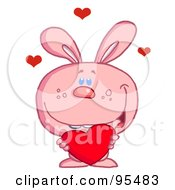 Royalty Free RF Clipart Illustration Of A Loving Pink Bunny Holding A Red Heart