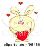 Royalty Free RF Clipart Illustration Of A Loving Yellow Bunny Holding A Red Heart
