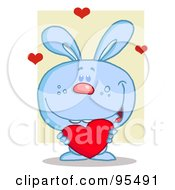 Royalty Free RF Clipart Illustration Of A Sweet Blue Bunny Holding A Red Heart