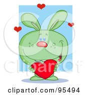 Royalty Free RF Clipart Illustration Of A Sweet Green Bunny Holding A Red Heart