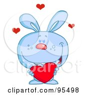 Royalty Free RF Clipart Illustration Of A Loving Blue Bunny Holding A Red Heart