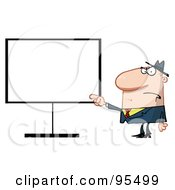 Royalty Free RF Clipart Illustration Of A Grumpy Boss Pointing To A Blank Board by Hit Toon