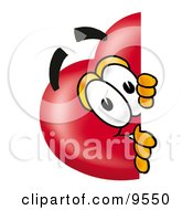 Clipart Picture Of A Love Heart Mascot Cartoon Character Peeking Around A Corner by Toons4Biz