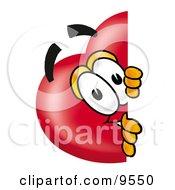 Love Heart Mascot Cartoon Character Peeking Around A Corner