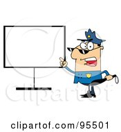 Royalty Free RF Clipart Illustration Of A Police Officer Shouting And Pointing To A Blank Sign by Hit Toon