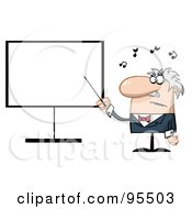 Royalty Free RF Clipart Illustration Of A Senior Music Teacher Pointing To A Blank Board by Hit Toon