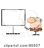 Royalty Free RF Clipart Illustration Of A Businessman Pointing A Stick At A Blank Board