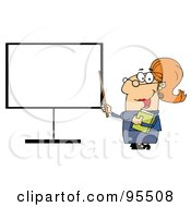 Royalty Free RF Clipart Illustration Of A Happy Female Teacher Pointing To A Blank Board by Hit Toon