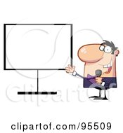 Royalty Free RF Clipart Illustration Of A Talk Show Host Beside A Blank Board by Hit Toon