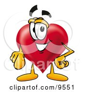 Clipart Picture Of A Love Heart Mascot Cartoon Character Pointing At The Viewer