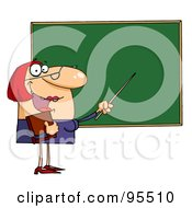 Royalty Free RF Clipart Illustration Of A Welcoming Female Teacher Pointing To A Chalkboard