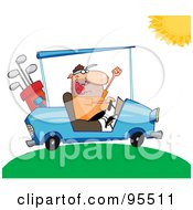 Royalty Free RF Clipart Illustration Of A Golfer Man Driving A Cart On A Sunny Day