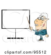 Royalty Free RF Clipart Illustration Of A Senior Professor Pointing To A Blank Sign by Hit Toon
