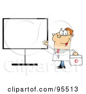 Royalty Free RF Clipart Illustration Of A Friendly Male Doctor Standing By A Blank Board by Hit Toon