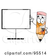 Royalty Free RF Clipart Illustration Of A Happy Pencil Beside A Blank Board by Hit Toon