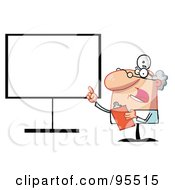 Royalty Free RF Clipart Illustration Of A Senior Doctor Talking And Pointing To A Blank Board by Hit Toon