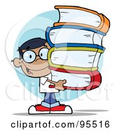 Smart Hispanic School Boy Carrying A Stack Of Books