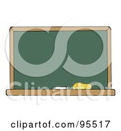 Royalty Free RF Clipart Illustration Of A Blank Green Classroom Chalkboard by Hit Toon