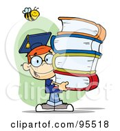 Royalty Free RF Clipart Illustration Of A Bee Over A Happy Red Head Graduate School Boy Carrying A Stack Of Books