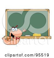 Royalty Free RF Clipart Illustration Of A Student Bookworm By A Classroom Chalkboard