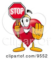 Clipart Picture Of A Love Heart Mascot Cartoon Character Holding A Stop Sign