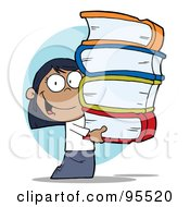 Royalty Free RF Clipart Illustration Of A Smart Black School Girl Carrying A Stack Of Books
