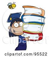 Royalty Free RF Clipart Illustration Of A Bee Over An African American Graduate School Girl Carrying A Stack Of Books