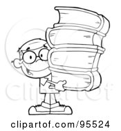 Royalty Free RF Clipart Illustration Of A Smart School Boy Carrying A Stack Of Books by Hit Toon