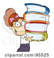 Royalty Free RF Clipart Illustration Of A Smart Brunette Caucasian School Girl Carrying A Stack Of Books
