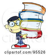 Royalty Free RF Clipart Illustration Of A Smart Oriental School Boy Carrying A Stack Of Books