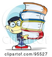Royalty Free RF Clipart Illustration Of A Smart Asian School Boy Carrying A Stack Of Books