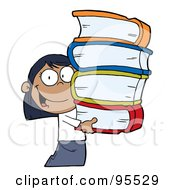 Royalty Free RF Clipart Illustration Of A Smart African American School Girl Carrying A Stack Of Books