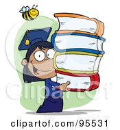 Royalty Free RF Clipart Illustration Of A Bee Over A Hispanic Graduate School Girl Carrying A Stack Of Books