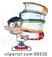 Royalty Free RF Clipart Illustration Of A Smart African American School Boy Carrying A Stack Of Books by Hit Toon