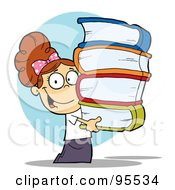 Royalty Free RF Clipart Illustration Of A Smart Brunette School Girl Carrying A Stack Of Books