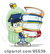 Royalty Free RF Clipart Illustration Of A Bee Over A Happy Oriental Graduate School Boy Carrying A Stack Of Books