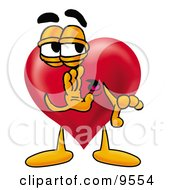 Clipart Picture Of A Love Heart Mascot Cartoon Character Whispering And Gossiping by Toons4Biz