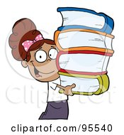 Royalty Free RF Clipart Illustration Of A Smart Latina School Girl Carrying A Stack Of Books