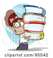 Royalty Free RF Clipart Illustration Of A Smart Hispanic School Girl Carrying A Stack Of Books