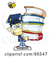 Royalty Free RF Clipart Illustration Of A Bee Over A Happy Asian Graduate School Boy Carrying A Stack Of Books