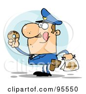 Hungry Caucasian Cop Licking His Lips And Holding A Donut